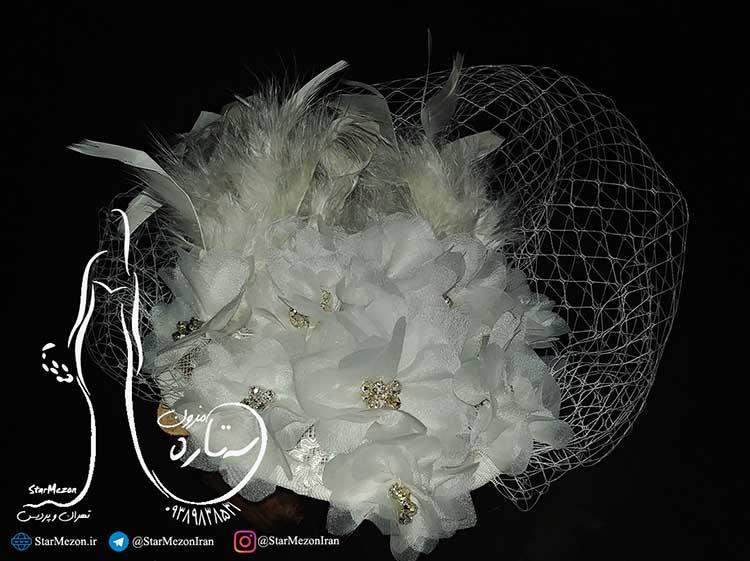 کلاه عروس توری با پر
